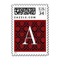 Red and Black Damask Monogram Wedding Stamp  #jaclinart #wedding #monogram #stamps #colors #red #black #damask