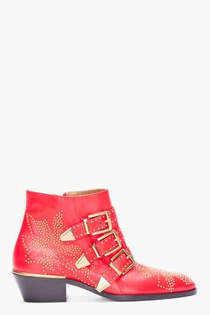 Chloe Red Studded Susan Boots