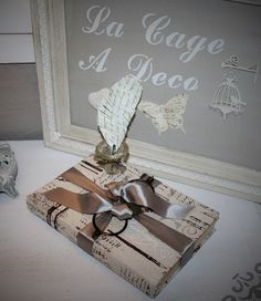 Livre recouvert de tissu lin imprimé et son encrier !! : Accessoires de maison par la-cage-a-deco