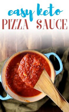 This easy keto pizza sauce recipe is the best recipe you'll ever make! With no sugar added, you'll love making this homemade pizza sauce. #pizzasauce #ketopizza #ketorecipe #mypcoskitchen Sugar Free Tomato Sauce, Homemade Tomato Sauce, Low Carb Pizza, Low Carb Keto, Sauce Recipes, Keto Recipes, Protein Recipes, Pizza Recipes, Recipes Dinner