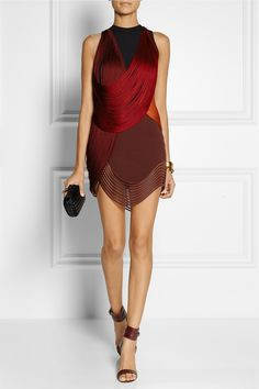 I want to live a life where this item is necessary -- Stella McCartney | Fringed stretch-cady mini dress | NET-A-PORTER.COM