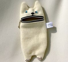 Hungry White Cat Iphone case, camera zipper pouch