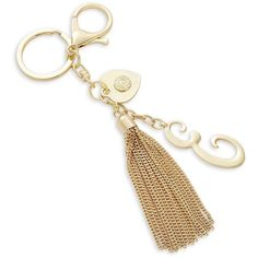 R.J. Graziano E Initial Tassel Keychain ($17) ❤ liked on Polyvore featuring accessories, gold, gold key chain, keychain key ring, fob key chain, r.j. graziano and tassel key ring