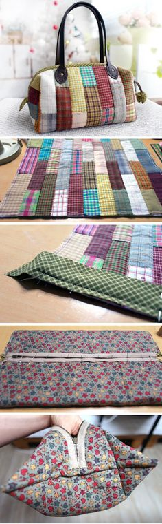 Patchwork Boston Bag. Photo Sewing Tutorial. Step by step DIY. www.handmadiya.co...