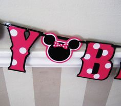 Minnie Mouse HAPpY BiRTHDAY Banner with MINNIE MoUSE by Devany, $17.00