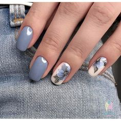 """If you're unfamiliar with nail trends and you hear the words """"coffin nails,"""" what comes to mind? It's not nails with coffins drawn on them. It's long nails with a square tip, and the look has. Grey Nail Designs, Nail Designs Spring, Nail Polish Designs, Diy Nagellack, Nagellack Trends, Spring Nail Art, Spring Nails, Nail Summer, Fall Nails"""