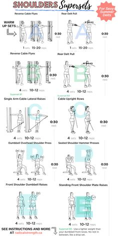 Shoulder Supersets Workout For Round, Strong Delts - Radical Strength Chest And Shoulder Workout, Chest Workout Women, Back Workout Women, Gym Workouts Women, Chest Workouts, Shoulder Gym Exercises, Back Workouts With Dumbbells, Arm And Back Workouts, Exercises At The Gym