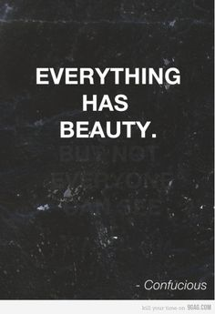 Everything has beauty...?