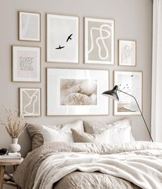 Gallery Wall Inspiration - Shop your Gallery Wall Beige Walls Bedroom, White Bedroom, Neutral Bedroom Decor, Gallery Wall Bedroom, Bedroom Wall, Gallery Walls, Murs Beiges, Inspiration Wand, Poster Store