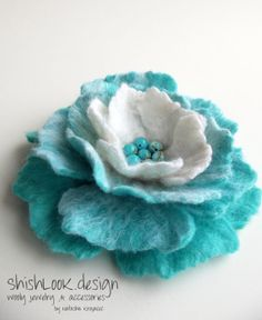 Hand Felted Flower Brooch Wool Felt Jewelry by ShishLOOKdesign, $23.00