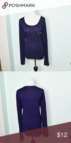 Gorgeous Navy Gold Zipper Detail Top In excellent condition! Very comfortable, soft, and lightweight! Buy 3 items and get 1 free plus 15% off your purchase total! Tops Blouses