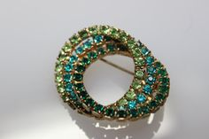 Vintage Green Rhinestone Brooch by CaityAshBadashery on Etsy, $9.95