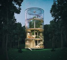 This is the 'Tree In The House' conceptual home rendered by the folks at A. Masow Architects. It consists of a four-story cylindrical glass house built around a tree.