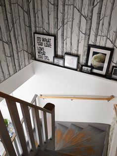 Wallpaper and stair ledge. Interesting idea for our new house
