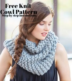 Learn how to knit this gorgeous cowl. Perfect holiday gift for friends or family! Get the free pattern here! Beginner Knitting Patterns, Knitting For Beginners, Knit Patterns, Knitting Ideas, Embroidery Patterns, Crochet Scarves, Knit Crochet, Crochet Hats, Cowl Scarf