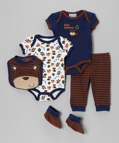 Take a look at this Navy Bear Bodysuit Five-Piece Set by Penguin Kids Wear on #zulily today!