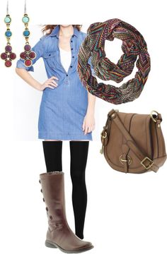 """""""Denim dress for Fall"""" by allison-smith-bilas on Polyvore"""