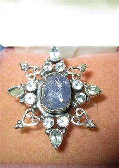 RING  - TANZENITE Cystal & Blue TOPAZ  Ornate - Star - 925 - Sterling Silver  - size 6 1/2  blue by MOONCHILD111 on Etsy