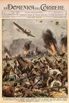 Domenica del Corriere, March 1936. Artist: Achille Beltrame. Italian aerial bombardment in the Ethiopian campaign.