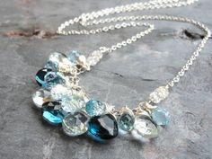 Statement Necklace Blue Topaz Necklace Gemstones, London Swiss & Sky Blues Sterling Silver, Bib Necklace