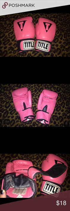 "Title pink boxing gloves Women's TITLE brand pink boxing gloves. Only worn a few times, no smell at all, like new! They are so cute and feature the motivating saying: ""HIT IT HARD!"" On the outside part of the glove. Let off some serious steam and as always, 30% off bundles of 2 or more items! Enjoy, dolls! ❤️ Other"