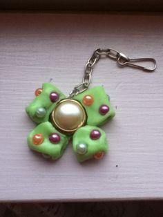 Mint green bow, glows in the dark. Handmade
