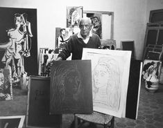 Picasso with linocut plate and print, 1957. Picasso's linocuts were made by gouging out a sheet of linoleum which had been fused onto a harder block of wood.  (Linoleum, softer and lighter than wood, allowed Picasso to work more quickly than would have been possible by working from woodblocks alone.)  Using gouges, he would cut out the areas of his intended image that were to be absent of color (and therefore appear the color of the paper when printed).