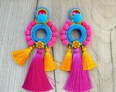 Long Tassels and PomPoms Earrings, Colorful Clip-On Earrings, Soutache Earrings, Big Statement Earrings, Tassel Earrings PomPoms Soutache Earrings, Boho Earrings, Etsy Earrings, Clip On Earrings, Geode Jewelry, Jewellery, Simple Earrings, Beautiful Earrings, Geometric Jewelry