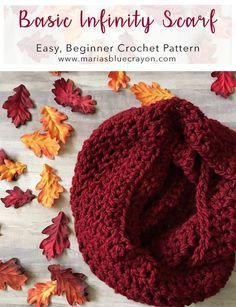Quick and Easy Crochet Infinity Scarf - Maria's Blue Crayon - Free Crochet Patterns - Crochet Infinity Scarf Free Pattern, Crochet Scarf Easy, Crochet Scarves, Crochet Shawl, Crochet Yarn, Free Crochet, Irish Crochet, Crochet Vests, Crochet Granny