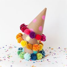 """These #DIY #pompom #party hats are super cute! Image via @tellloveandchocolate x"" Photo taken by @hooraymagau on Instagram, pinned via the InstaPin iOS App! http://www.instapinapp.com (08/20/2015)"