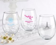 Personalized Stemless Wine Glass 15 oz. (Wedding)  available with a snowflake design