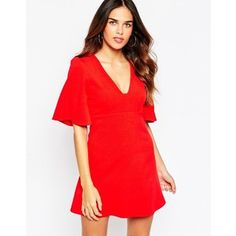 ASOS Skater Dress with Square Neck and Angel Sleeves