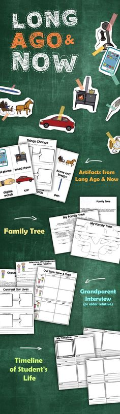 Long Ago & Now is a social studies unit to help students understand how their lives relate to things and events long ago.  Includes: • Compare and contrast artifacts today and long ago • Family Tree • Grandparent (or older relative) interview • Timeline