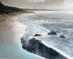 """Inspired by all of the beautiful silvery beaches along our coastline This is a 16x20"""" original oil painting by UK artist Ellisa Hague. Price includes VAT and standard UK P&P. Please visit www.EllisaHagueOriginal.com for more information."""