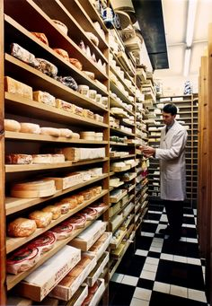 The cold storage room in a Belgian cheese shop.