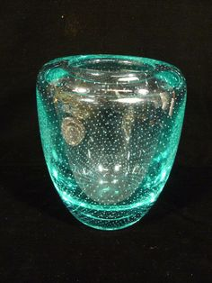 VINTAGE VAL ST LAMBERT AQUA TEAL BUBBLE ART GLASS VASE W/ ORIGINAL LABEL