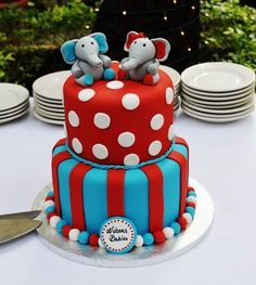 Elephant baby Shower Cake for Twins. What a cute idea for a baby shower!