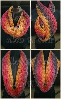 Caron Cakes Funfetti. Crochet oversized cowl. Basketweave stitch.
