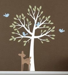 Tree with birds and fawn - Vinyl Wall Decal Set - Nursery Baby Girl Boy Children