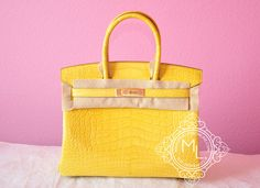Hermes Mimosa Yellow Crocodile Alligator GHW Birkin 30 Bag Kelly - New