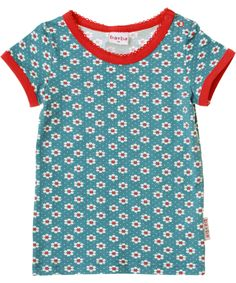 Baba Babywear gorgeous blue t-shirt with retro flowers. baba-babywear.en.emilea.be
