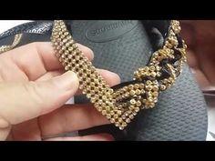 DIY MODELO #ENCANTO#(1PARTE) - YouTube Jewelry Making Beads, Beaded Jewelry, Beaded Necklace, Beaded Bracelets, Diy Friendship Bracelets Patterns, Beaded Bracelet Patterns, Crochet Flip Flops, Decorating Flip Flops, Beaded Sandals