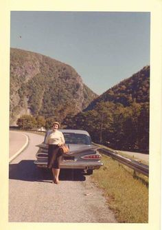 Vintage Photograph Woman Standing Behind Old Time Vintage Car Automobile 1960