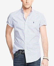 Image result for men wearing ralph lauren polo short sleeve button down check