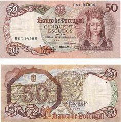Portugal - 50 escudos – Raínha Santa Isabel Entrada em circulação: 03-07-1965 Retirada de circulação: 30-06-1987