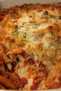 Easy Baked Ziti with a Homemade Meat Sauce. You're family is going to LOVE this recipe. Give it a try. The recipe is available on my blog, so come by and print it out! XOXO