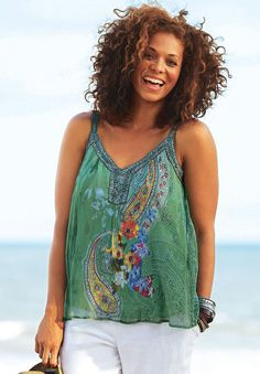 Embellished V-neck Tank by Taillissime | Plus Size taillissime™ | Jessica London
