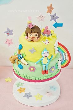 """I wanna pin Dora. That cake! It's pretty, is it pretty? I wanna eat it... I ate it mama!"""