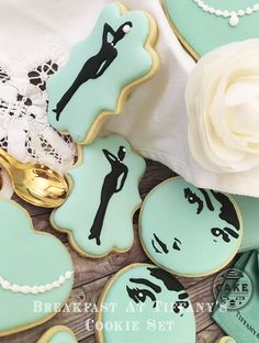 Breakfast at Tiffany's Cookie Set; Made in Melbourne; Decorated Cookies Made in Melbourne; Custom Cookies; Cookie Favours;