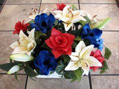 Patriotic balloon fantasy flower arrangement